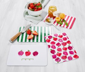 4 Chopping Boards, 24 x 16 cm, Pink/Green/Red/White