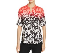 Calvin Klein Printed Split-Neck Shirt, Red/Black/White