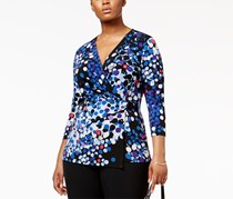 Anne Klein Plus Size Printed Faux-Wrap Top, Blue