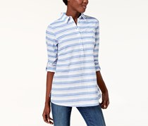 Tommy Hilfiger Women's Long Sleeve Blouse, Off White/Blue