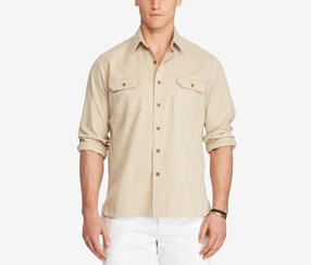 Polo Ralph Lauren Men's Big & Tall Cotton Twill Utility Shirt, Beige