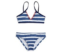 Splendid Girls' Chambray Stripe Two Piece Swimsuit, Navy/White