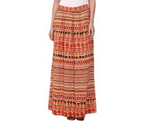 Nic+Zoe Women's Clever Circle Skirt, Orange