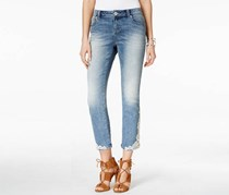 Inc Denim Curvy-Fit Cropped Embroidered Jeans, Blue