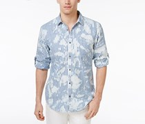 Inc International Concepts Men's Striped Splatter-Print Shirt, Blue