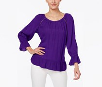 Inc International Concepts Crepe Peasant Top, Purple