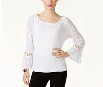 Inc International Concepts Linen Off-The-Shoulder Peasant Top, White