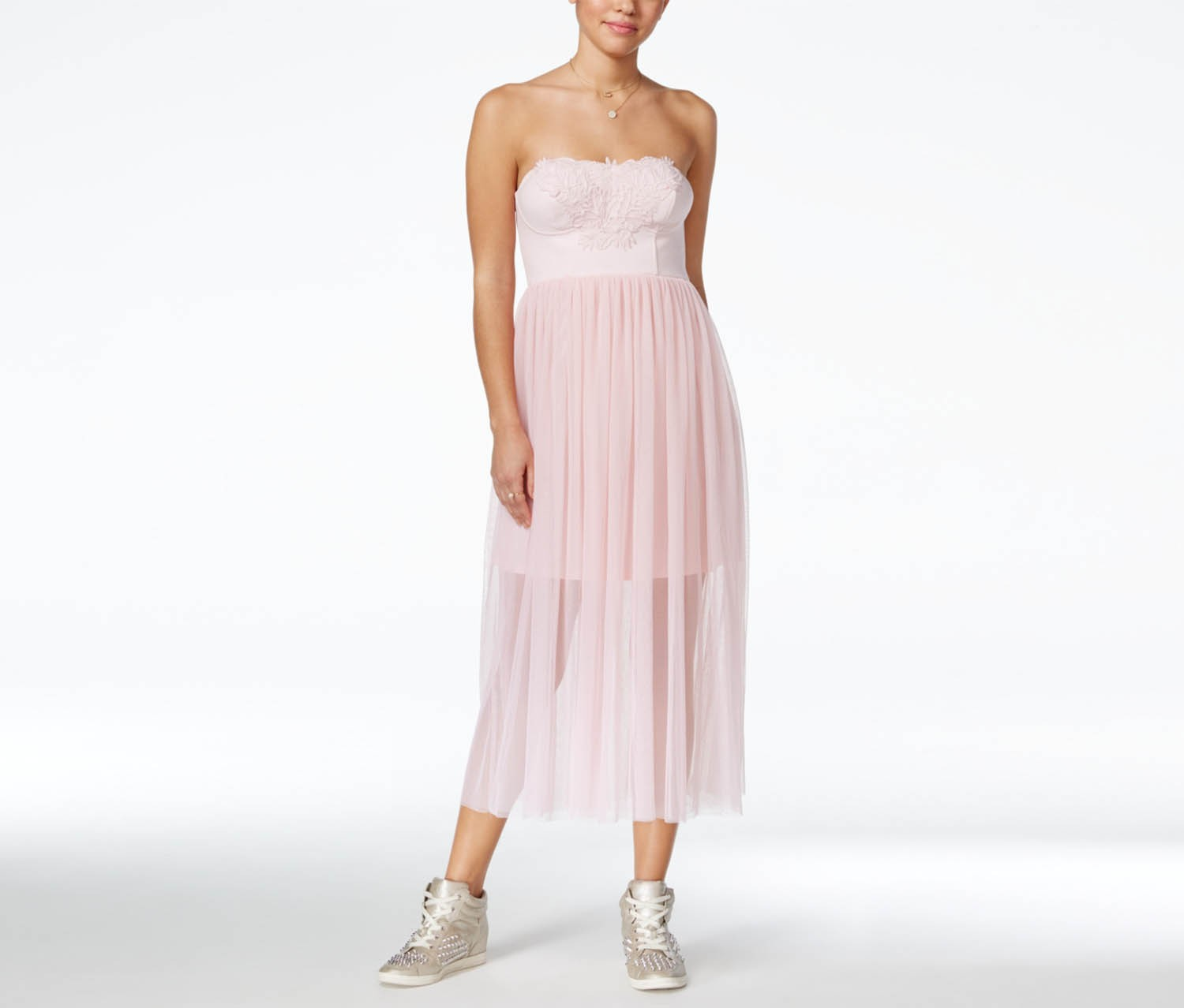 In Awe of You by Awesomeness Embroidered Maxi Dress, Pink