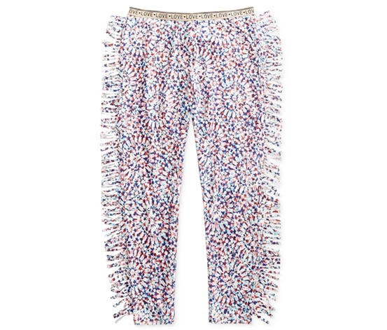 Jessica Simpson Big Girls Mersele Tie-Dye Fringe Pant, White/Navy/Pink