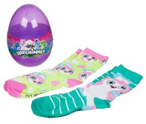 Hatchimals Girls Eggs Crew Socks, Teal Penguala