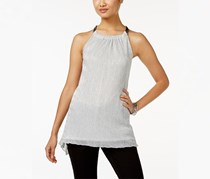 Alfani Women's Chain-Neck Metallic Top, Light Silver
