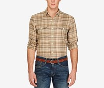 Polo Ralph Lauren Men's Plaid Military Shirt, Tan/Green