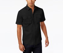 Sean John Men's Big & Tall Stretch Twill Shirt, Black