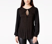 Sanctuary Women's Top Long Sleeve Ties Neck, Black