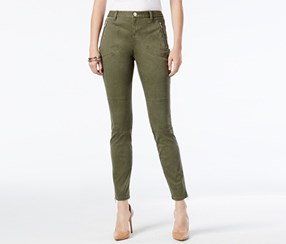 Inc International Women's Skinny Ankle Pants, Olive