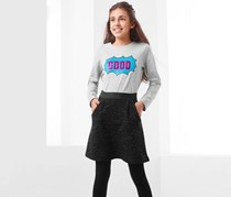 Girls Sweat Skirt Rusted, Anthracite Black
