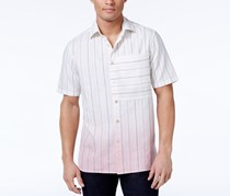 Sean John Men's Dip-Dye Pinstripe Shirt, Cream