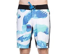 Quiksilver Men's Beach Shorts, White/Blue/Green