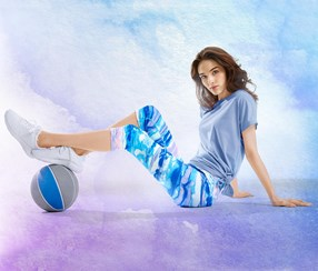 Women's  Sports Tights Watercolor Printed, Blue