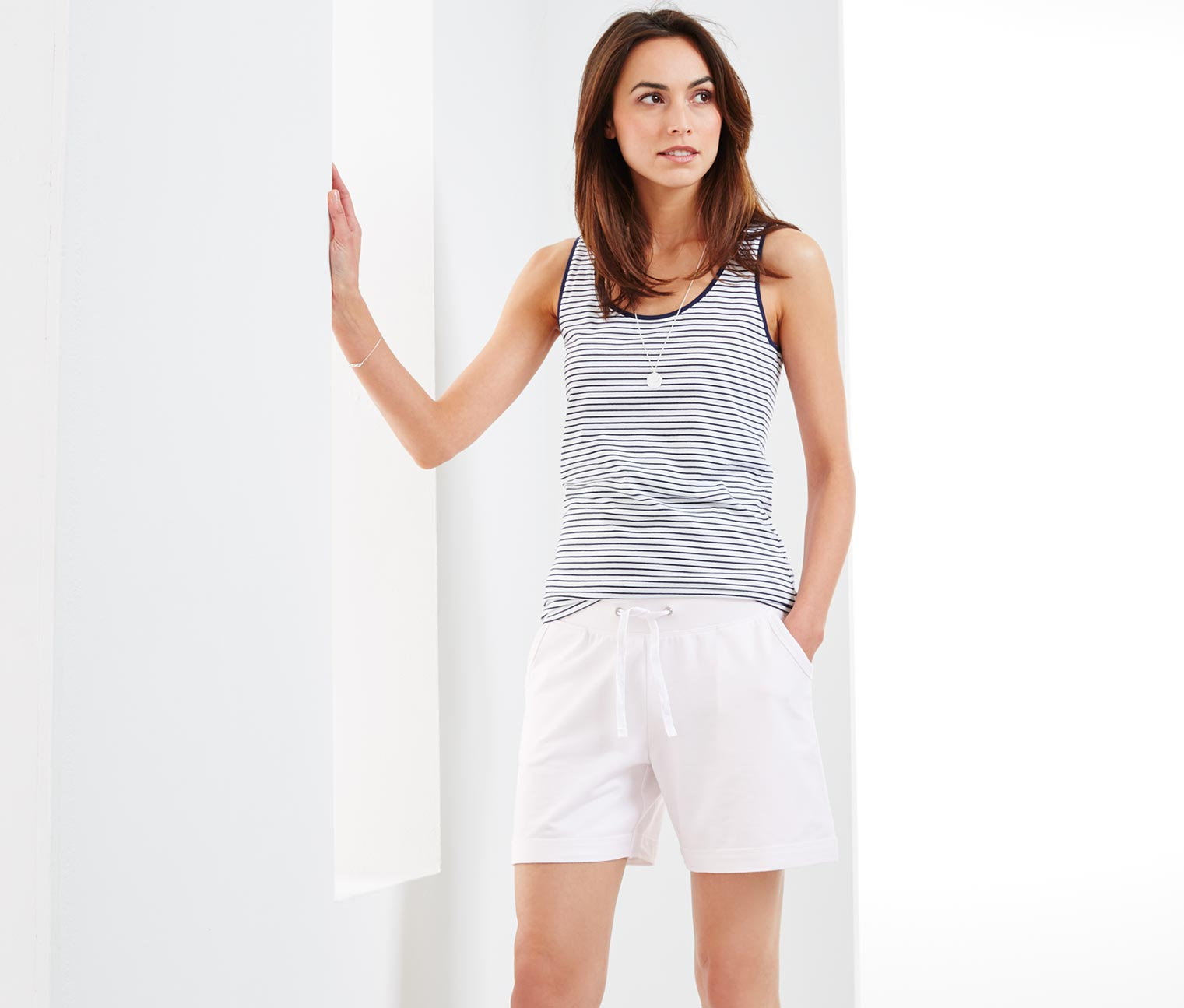 Women's Jersey Shorts, White