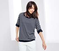 Women's Top With Short Batwing Sleeves, Navy Blue/White