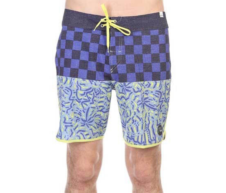 Quiksilver Quad Rock Scallop Board shorts, Yellow/Purple
