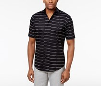 Alfani Men's Big Tall Striped Cotton Shirt, Black