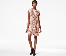 Bar III Cap-Sleeve Printed Shirtdress Tender, Rose Combo