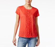 Maison Jules Cotton Ruffled T-Shirt, Orange