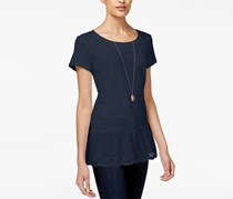 Maison Jules Cotton Eyelet Peplum Top, Navy