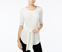 Bar III Ribbed Tie-Front Top, Off White