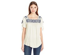 Lucky Brand Women's Embroidered Top, Off White