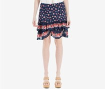 Max Studio Women's Floral-Print Ruffled Skirt, Navy/Red
