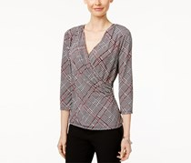 Charter Club Petite Plaid Faux-Wrap Top, Black/White