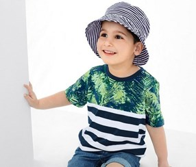 Boy's Sun Hat, Blue Navy/White