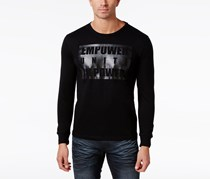Mens Long-Sleeve Graphic-Print Tee, Black