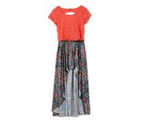 Speechless Big Girls' Belted Maxi Dress, Navy/Coral