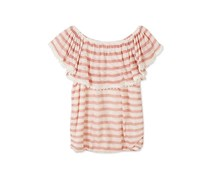 Speechless Girl's Striped Peasant Top, Pastel Pink