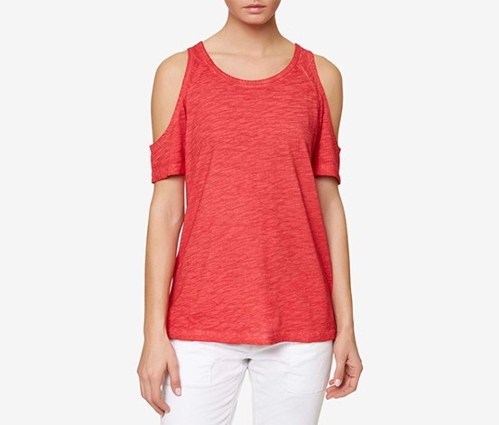 Heathered Cold-Shoulder Top, Pomgranate