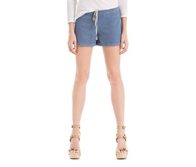 Max Studio Natalie French Terry Heathered Casual Shorts, Blue/Heather Grey