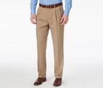 Mens Straight-Fit Double-Pleated Pants, Tan