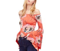 Free People Off-The-Shoulder Bell-Sleeve Top, Spice Combo