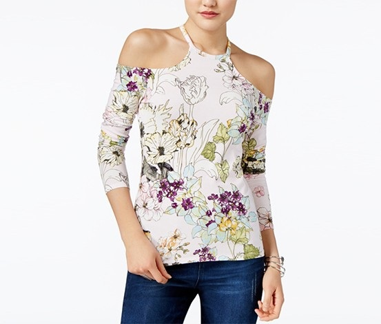 e30d6d11bf415b Shop Guess Guess Jasmine Cold-Shoulder Floral-Print Top