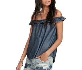 Ralph Lauren Off-The-Shoulder Denim Shirt, Rinse Wash