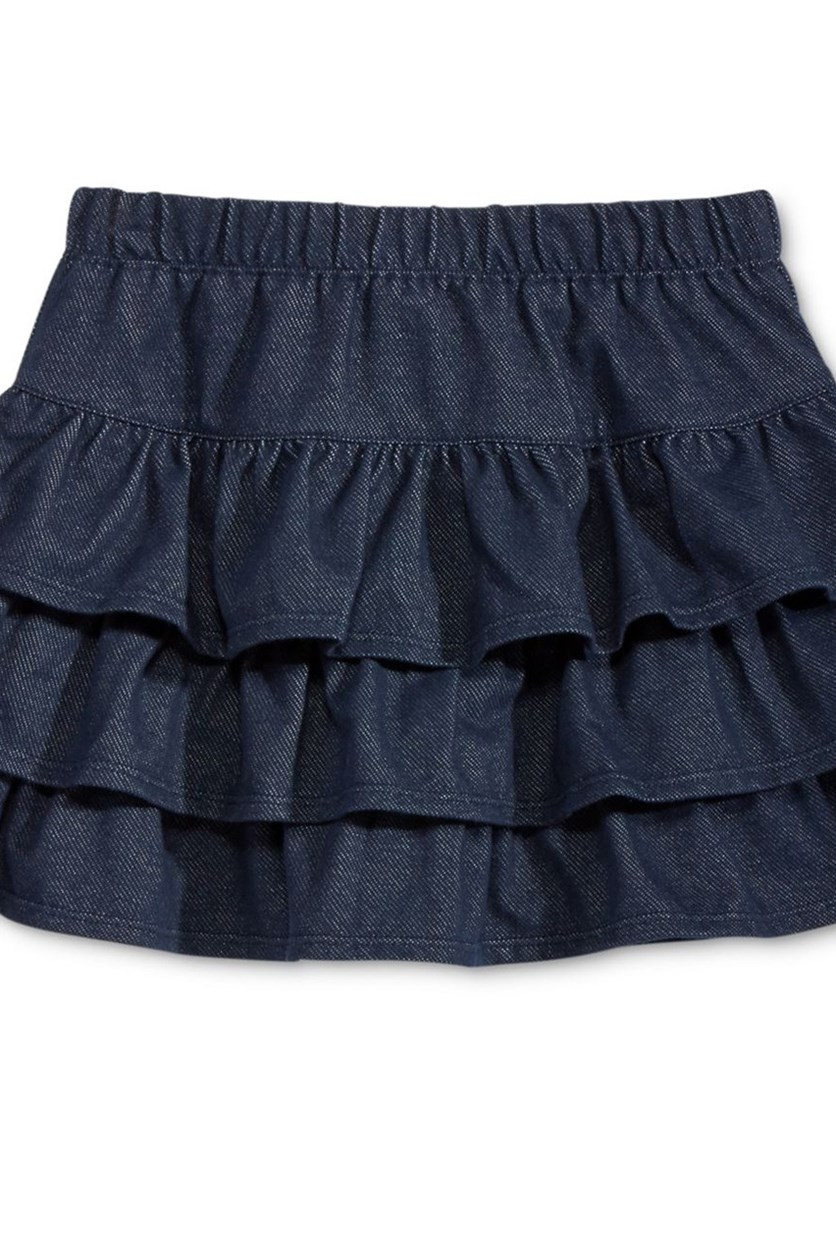 Tiered Denim Scooter Skirt, Knit Blue Denim
