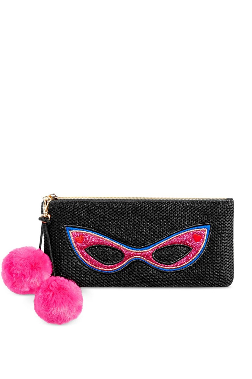 Pom-Pom Clutch Purse, Deep Black