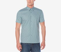 Perry Ellis Mens Stretch Micro-Floral Shirt, Stone Blue