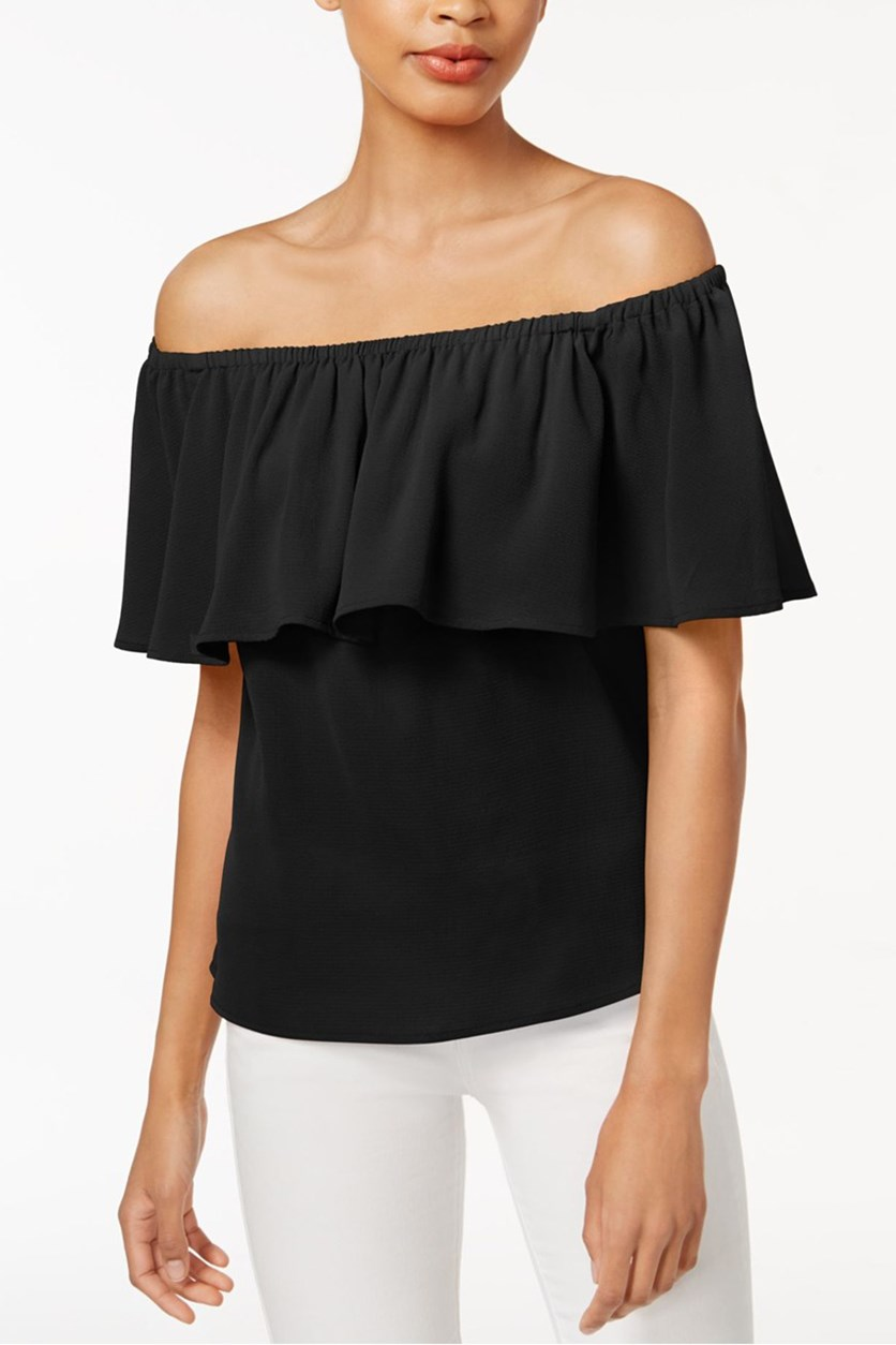 Women's Ruffled Off-The-Shoulder Top, Black