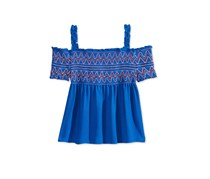 Kandy Kiss Cold-Shoulder Embroidered, Smock Blue