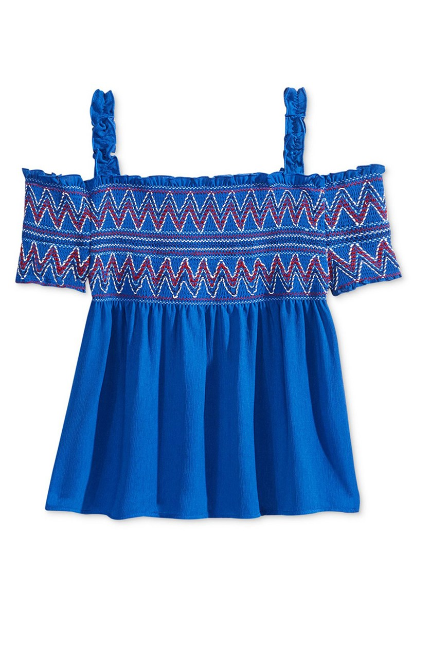 Cold-Shoulder Embroidered, Smock Blue